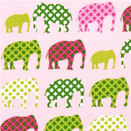 pink fabric with colourful elephants Robert Kaufman