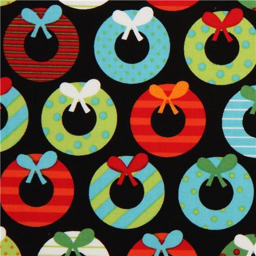 black Christmas fabric Robert Kaufmanwith Christmas wreath