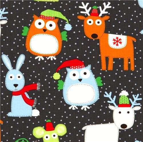 grey designer Christmas fabric with owl reindeer rabbit