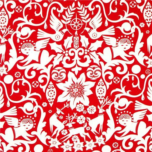red Alexander Henry Christmas fabric angel reindeer star