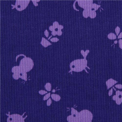 violet animal corduroy fabric mouse bird Timeless Treasures