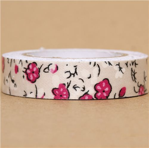 off-white Fabric Deco Tape with pink & white flowers