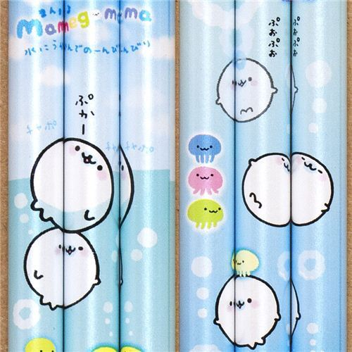 light blue Mamegoma seals pencil with sea & jelly fish