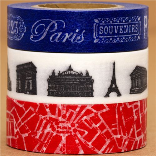 Washi Masking Tape deco tape set 3pcs Paris France