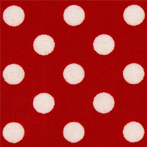 red polka dot laminate fabric by Cosmo from Japan