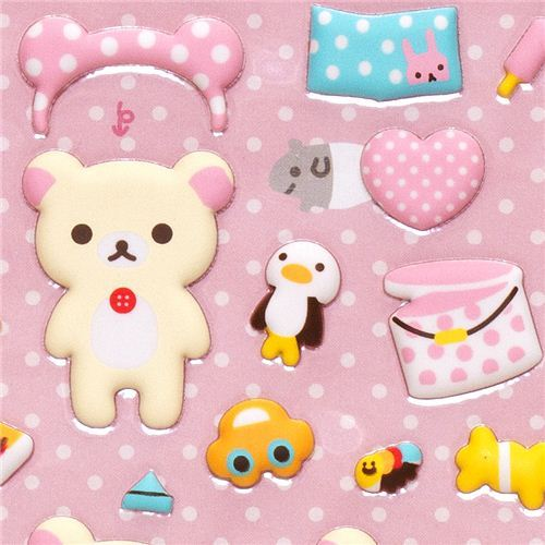 Rilakkuma white bear puffy dress up stickers