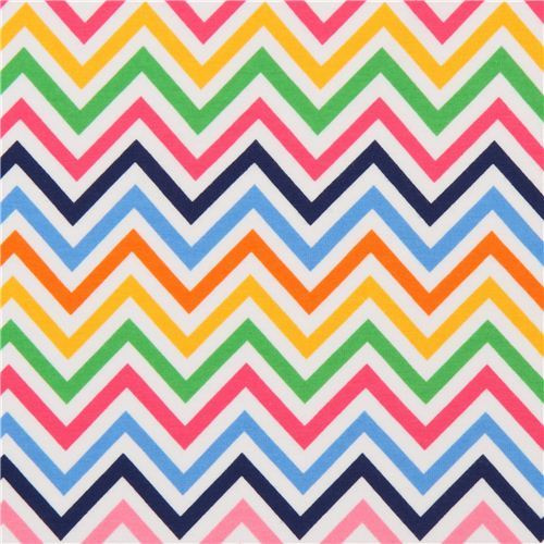 Robert Kaufman knit fabric zig-zag pattern pink-blue