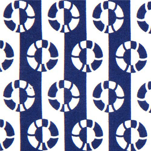 navy blue Timeless Treasures lifesaver fabric USA