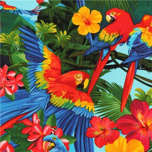 blue macaw parrot animal fabric by Timeless Treasures
