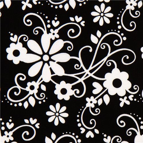black Riley Blake fabric with flowers & embellishments