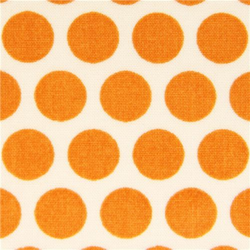 ecru birch organic fabric from the USA orange dots