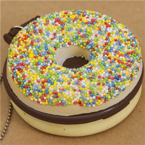 colourful sprinkles donut squishy charm with pocket mirror