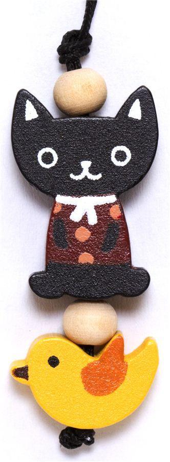 little black cat wooden phone strap