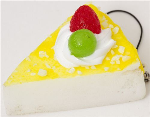 piece of white lemon cake squishy cellphone charm