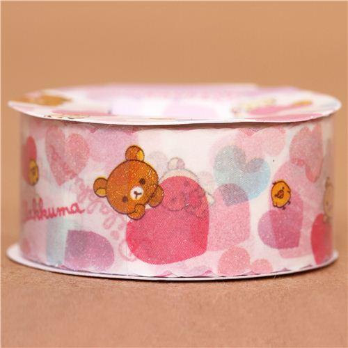 Rilakkuma bear with hearts Masking Tape deco tape San-X