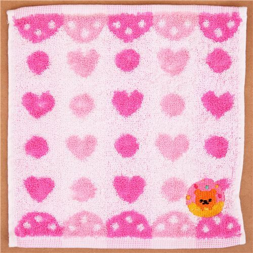 cute hearts dots bear towel from Japan