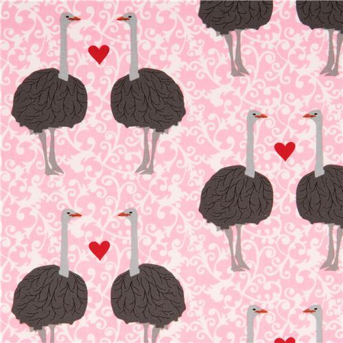 pink fabric with ostrich by Robert Kaufman from the USA love