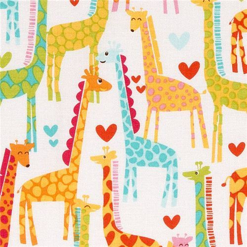white Michael Miller fabric Giraffe Love heart