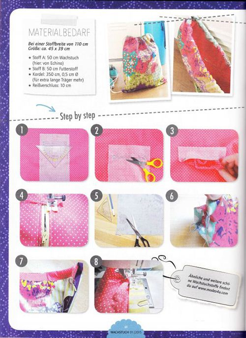The magazine issue includes great step by step instructions for sewing the stylish bag and other cool pieces.