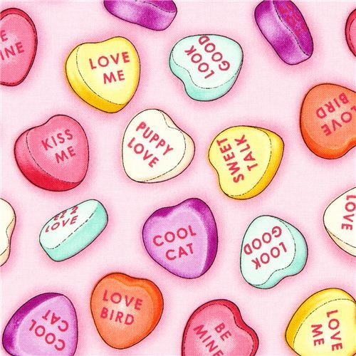 pink candy hearts fabric by Timeless Treasures