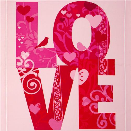 pink love fabric with bird an heart by Robert Kaufman