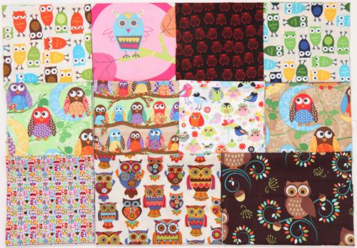 The prize pakage contains these 11 fat quarters full of owl designs