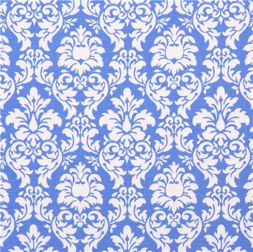 Delft blue Petite Dandy Damask ornament fabric Michael Miller Petite Paris