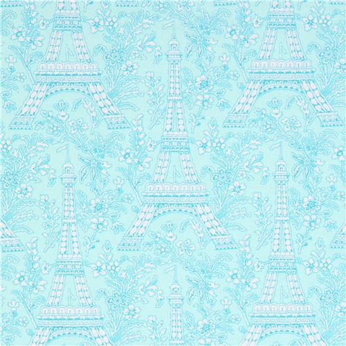 aqua Paris Eiffel Tower flower fabric Michael Miller Petite Paris