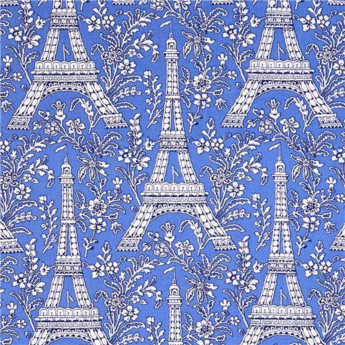 blue Paris Eiffel Tower flower fabric Michael Miller Petite Paris