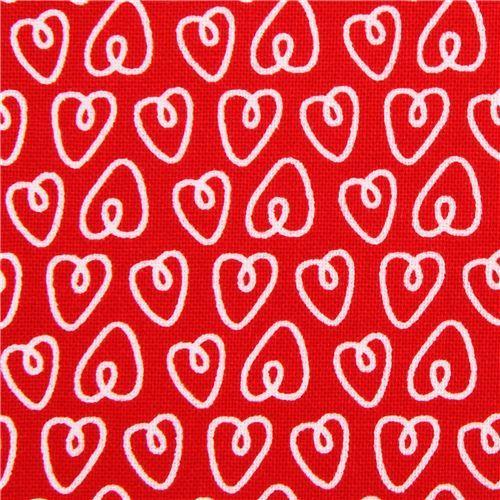 red Petite Hearts heart love fabric Michael Miller Petite Paris