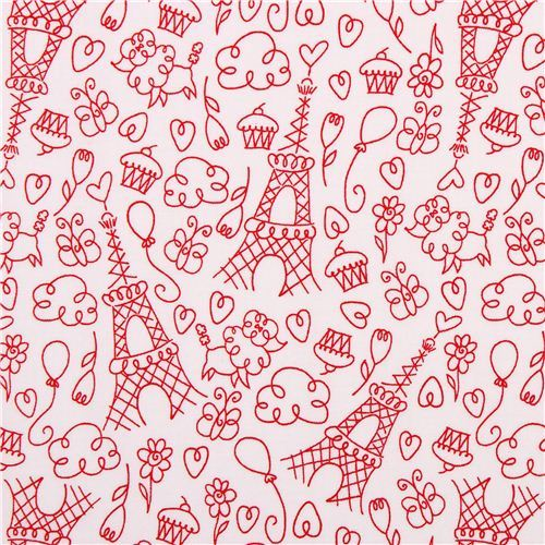 white Paris Love doodles fabric Michael Miller Petite Paris
