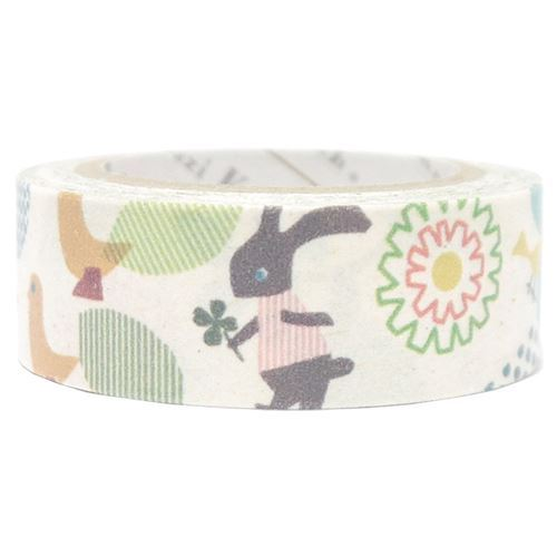 white bird rabbit flower Banana Paper Washi Masking Tape deco tape
