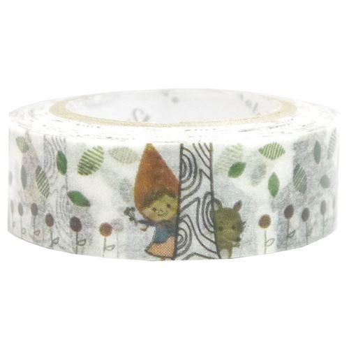 white cute house wolf leaf Washi Masking Tape deco tape Shinzi Katoh