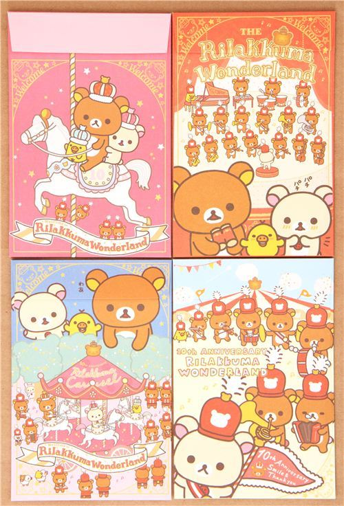 Rilakkuma Wonderland carousel bear letter paper set