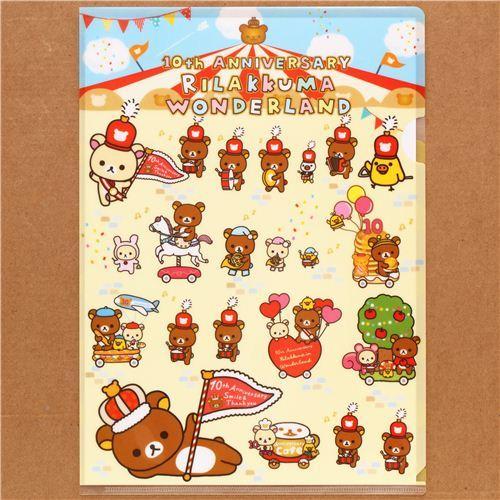 cute Rilakkuma Wonderland bear parade A4 plastic file folder