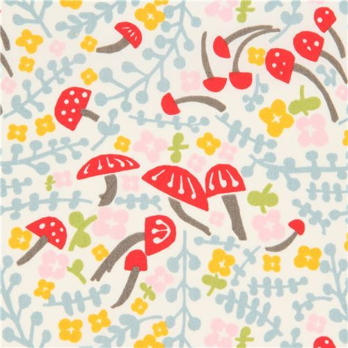 light cream with mushroom flower organic poplin fabric from the USA