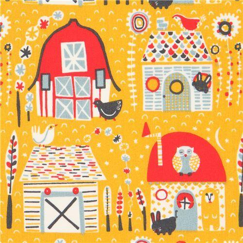 marigold yellow with farmhouse animal organic poplin fabric from the USA