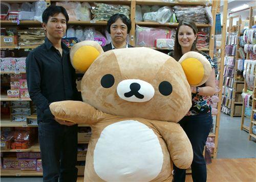 Alan, Shigeo and Sandra with our huge Rilakkuma office mascot