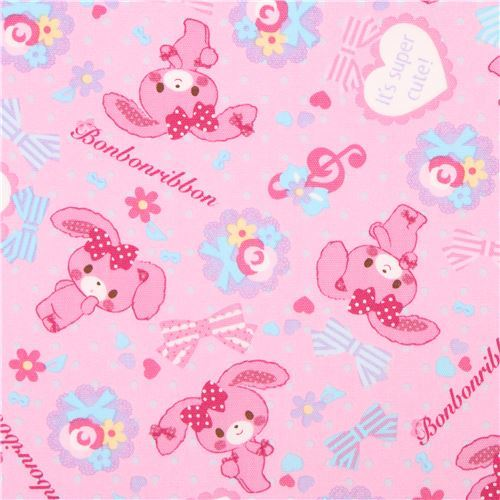pink Bonbonribbon bunny dots bows Sanrio oxford fabric from Japan
