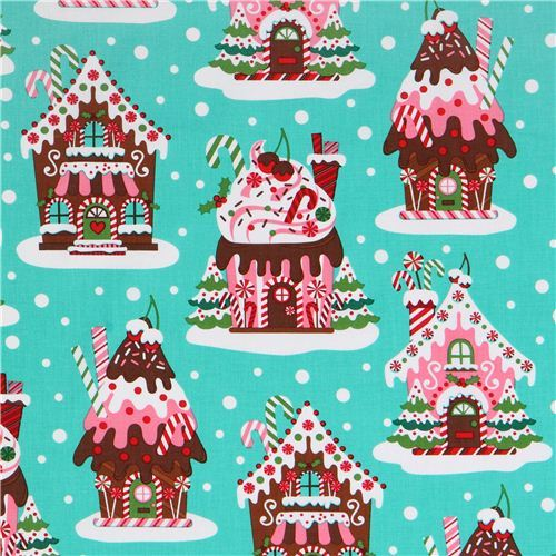 turquoise Gingerbread Houses Christmas fabric Michael Miller
