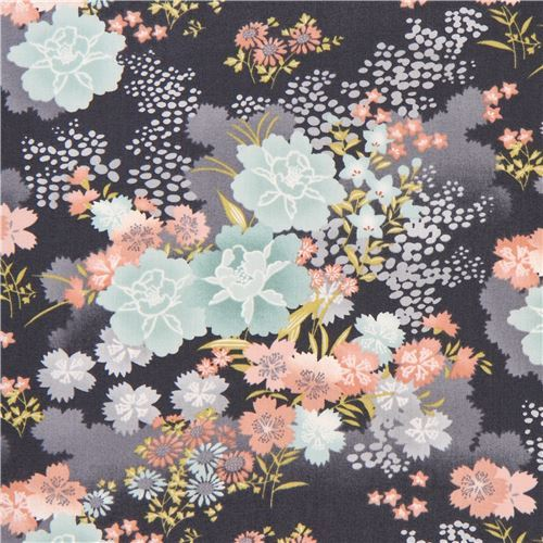 dark grey with peach colorful Asia flower fabric by Andover Asami