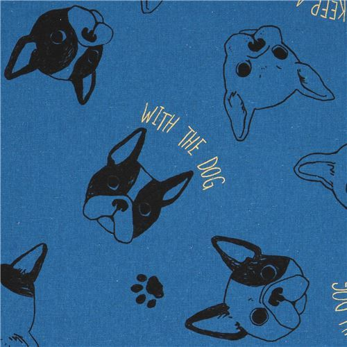 French Bulldog Cosmo canvas fabric with metallic embellishment
