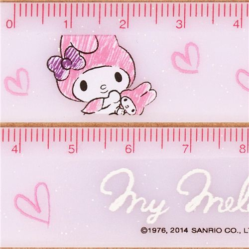 slim milky My Melody heart glitter ruler from Japan