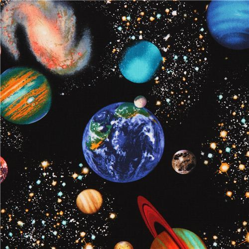 black space fabric with planets by Timeless Treasure