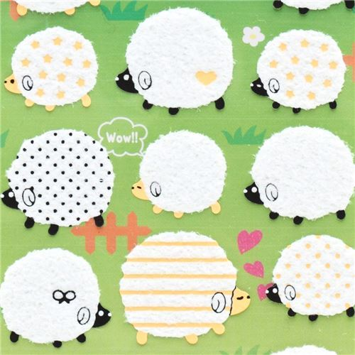 cute fuzzy stickers with black cream white sheep