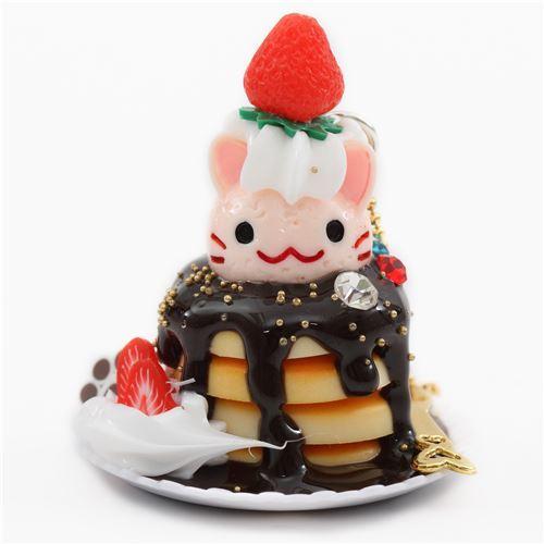 light pink cat face pancake chocolate sauce fruit dessert figure from Japan