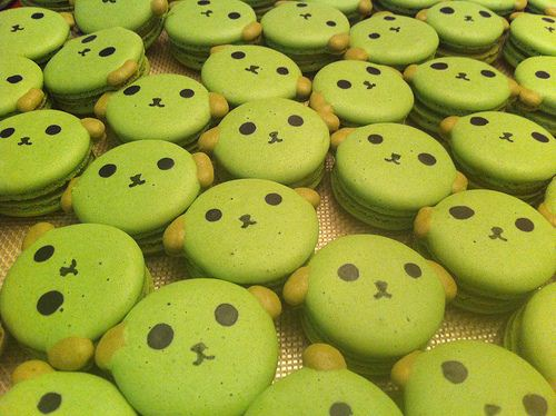 We found these adoarable Mameshiba macarons on the blog kawaii eats