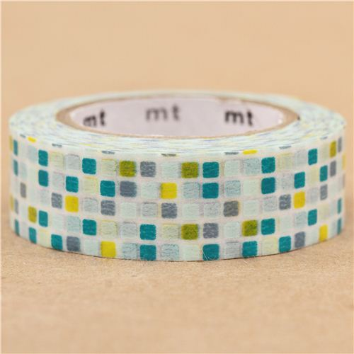mt Washi Masking Tape deco tape square turquoise green grey