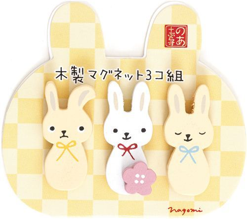 kawaii bunny wooden magnets with flower from Japan