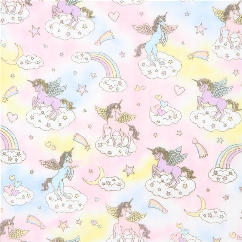 colorful double gauze fabric cute unicorn glitter embellishment from Japan